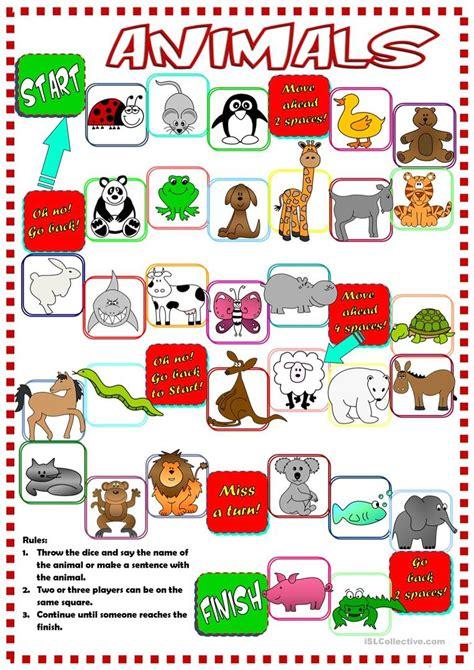 printable board games com animals boardgame worksheet free esl printable