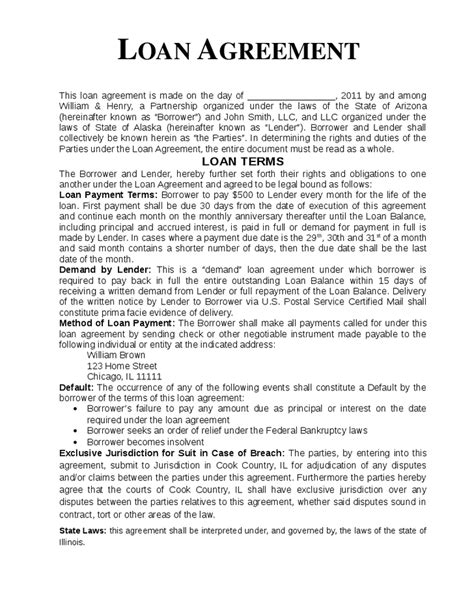 loan template agreement loan agreement template hashdoc
