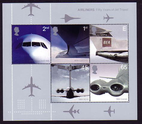 Great Britain Airliners 2002 Ms 2002 ms2289 airliners miniature sheet
