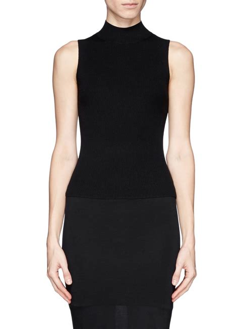 black knit top theory everleen rib knit turtleneck sleeveless top in