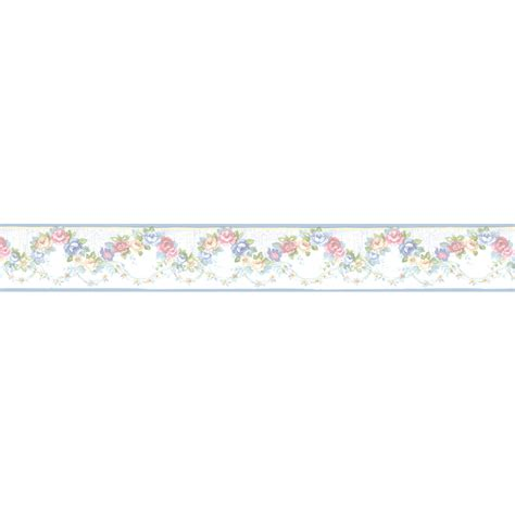 blue wallpaper border shop norwall 4 25 in blue prepasted wallpaper border at