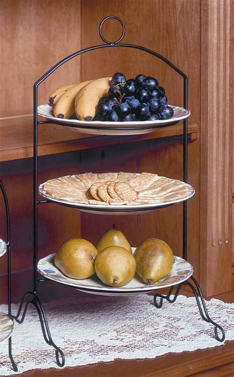 Pie or Plate Racks   Triple Tier   Footed, Tiered Plate Stands