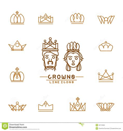 line design graphics greensboro nc set of crown line icons stock vector illustration of