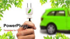 Electric Cars Powerpoint Template Electric Car And Green Car Concept With White Background