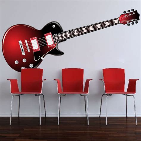 Guitar Wall Murals red electric guitar wall mural decal music wall decal