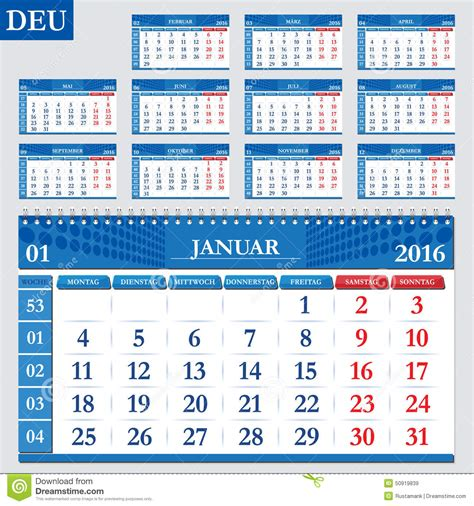 German Kalender 2016 German Calendar 2016 Stock Vector Image 50919839