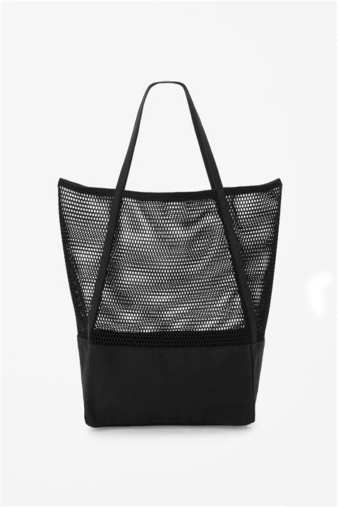 Mesh Panel Shopper Bag cos canvas and mesh bag in black lyst