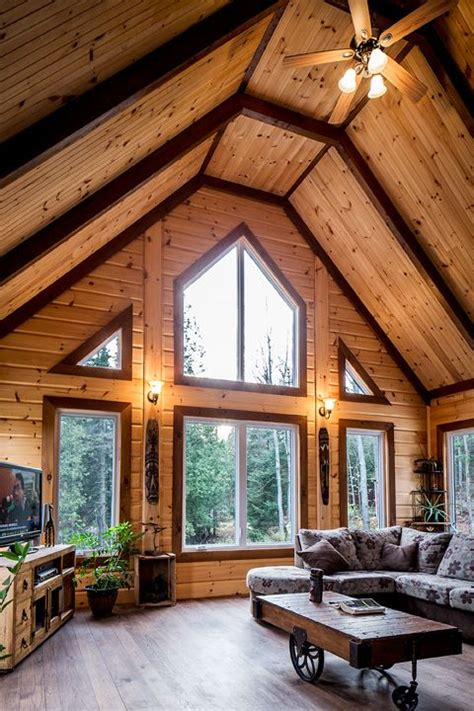 Beautiful Log Cabin Interior Color Schemes Using Modern | using different stain colors on your log home interior