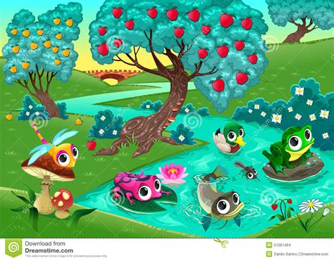funny animals   river   wood stock vector image