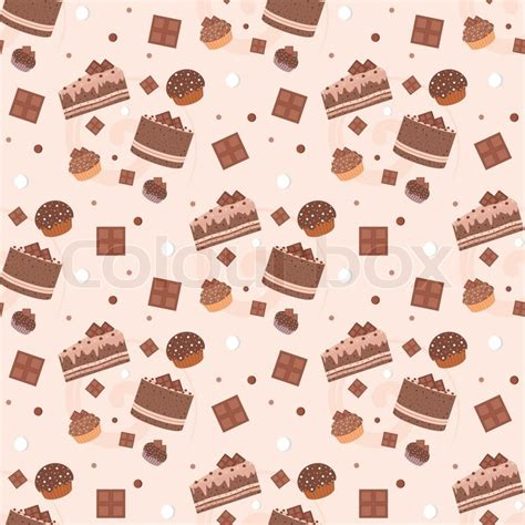 cake background pattern vector seamless chocolate cakes pattern stock vector colourbox