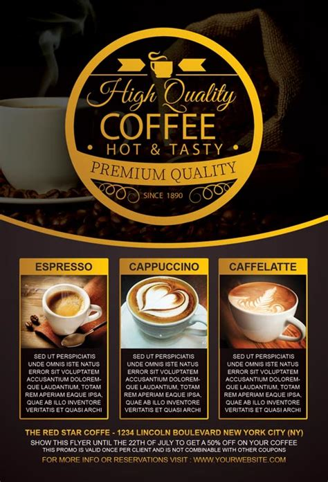 Poster Dinding Dekorasi Bar Coffee Cafe coffee special promotion flyer template for photoshop