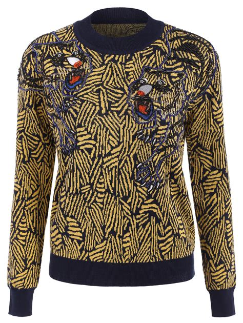 graphic knit sweaters beaded animal graphic knit sweater in yellow sammydress
