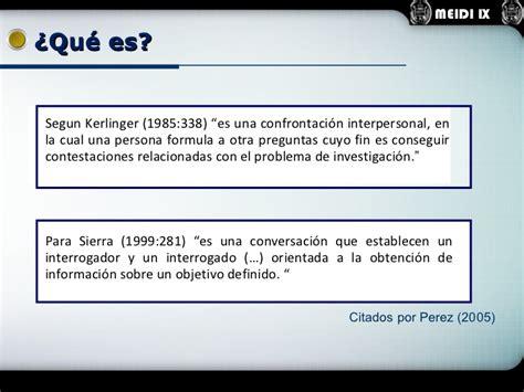 preguntas de investigacion segun kerlinger la entrevista como tecnica de recolecci 243 n