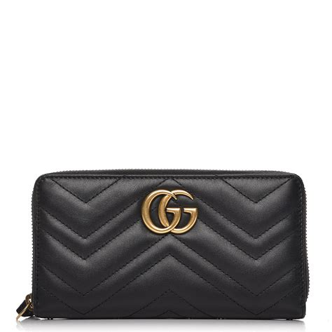 gucci calfskin matelasse gg marmont zip around wallet black 225842