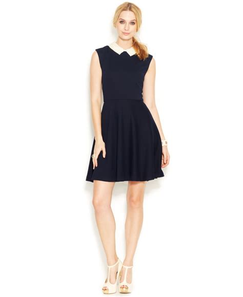 Pearl Dress By Finoura Navy betsey johnson cap sleeve pearl collar dress in blue lyst