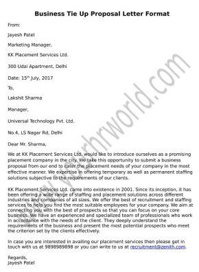 Business Tie Up Letter Template business tie up letter format hr letter formats