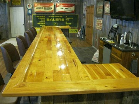 rustic hickory bar top barn wood projects pinterest