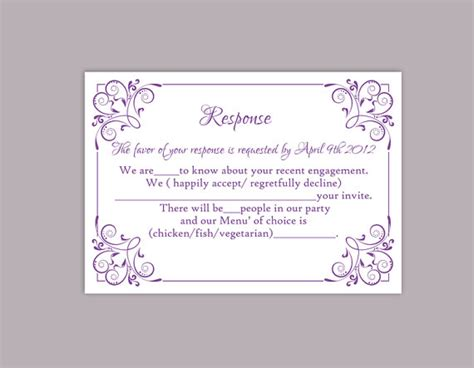 response cards template for weddings diy wedding rsvp template editable text word file