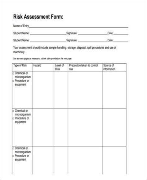 assessment form in pdf 8 risk assessment form sles free sle exle