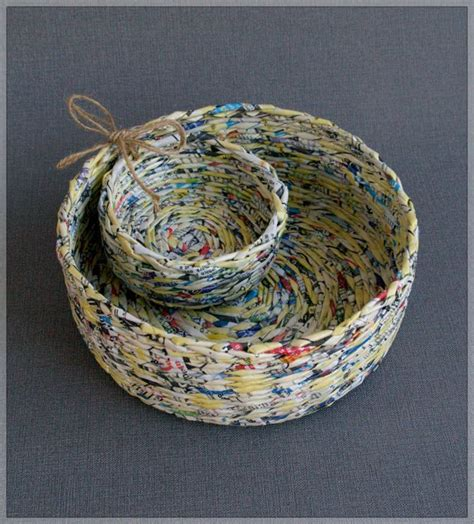 Paper Baskets - baskets made of recycled paper paper magazine
