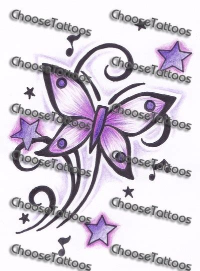 butterflies and stars tattoos designs purple and butterfly design