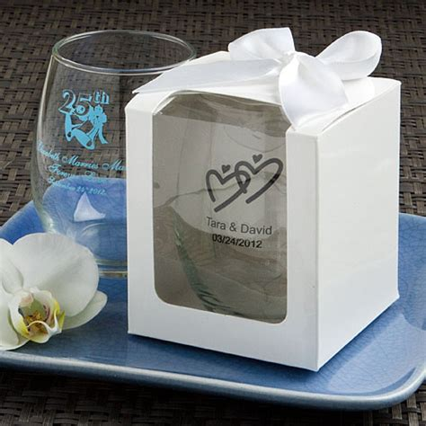 Wedding Favors Stemless Wine Glasses by Personalized Stemless Wine Glasses