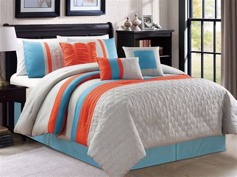11 pc embossed bedding blue grey orange striped king