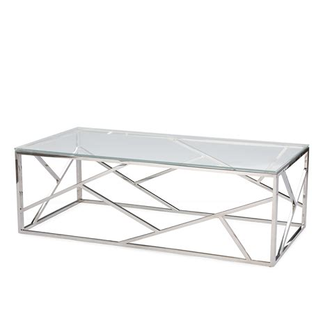 Chrome And Glass Coffee Table Aero Chrome Glass Coffee Table Modern Furniture Brickell Collection