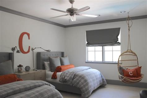 gray boys bedroom gray and orange bedrooms transitional boy s room