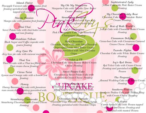 cupcake menu template cake ideas and designs