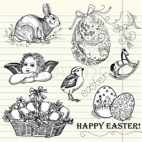 doodle resurrection doodle easter set vektorgrafik colourbox