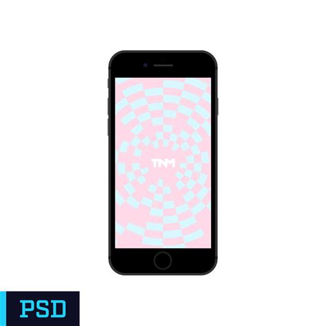 flat vector mockup photoshop template for apple iphone 7 black