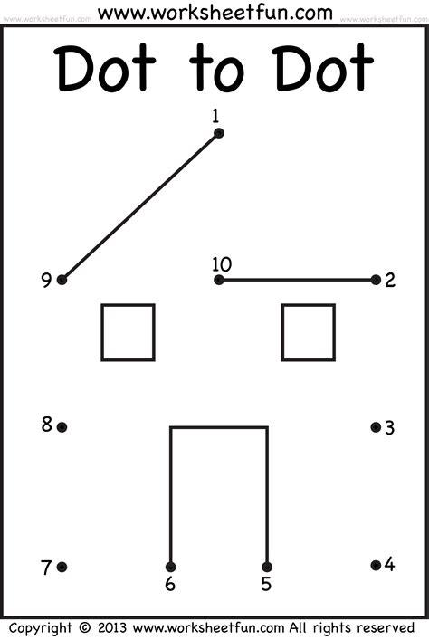 Printable Dot To Dot 1 10 | kindergarten dot to dot worksheets 1 10 easy printable