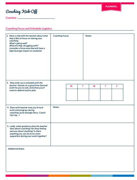 Instructional Coaching Tools Ms Houser Coaching Reflection Template