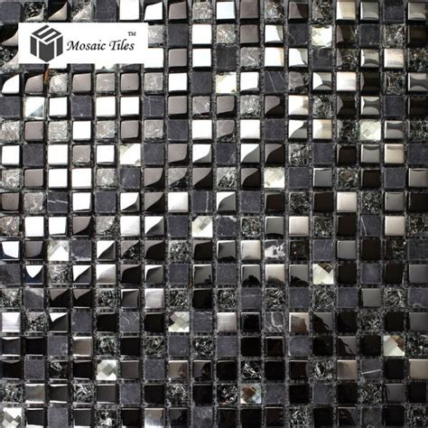 TST Glass Stone Tiles Black Dark Grey Squared Grid Marble