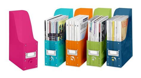 Desk Organization Products 5 Plastic Magazine File Boxes Paper Book Storage Desk Organizers Assorted Colors Ebay