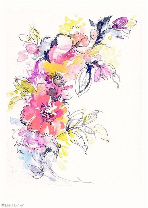 libro watercolour flower portraits bright watercolor flower painting abstract floral pink red yellow print art modern wall decor
