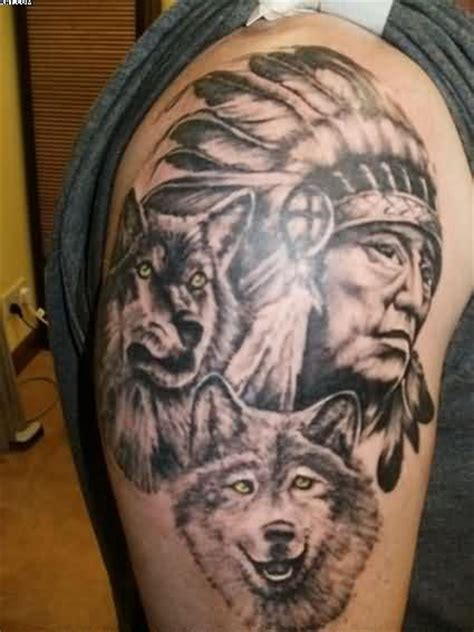 black and grey indian tattoos 32 indian chief wolf tattoos