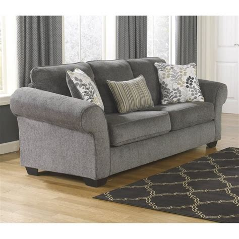 makonnen charcoal queen sofa sleeper ashley makonnen chenille queen size sleeper sofa in