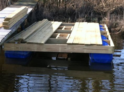 how to build a boat dock with plastic barrels homemade floating dock pics included the hull truth