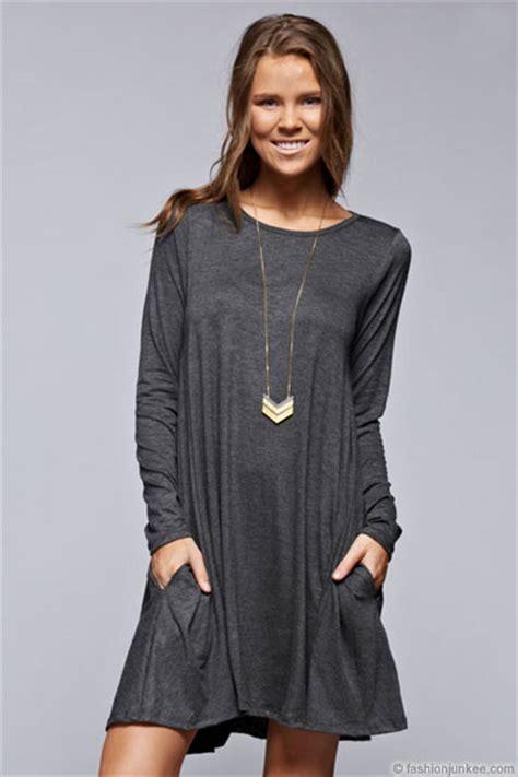 Pocket Tunik By Enter 1 sleeve jersey a line tunic dress with pockets grey