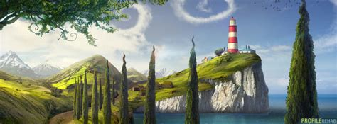 Scenic Artistic Lighthouse Facebook Cover Unique Girly Backgrounds