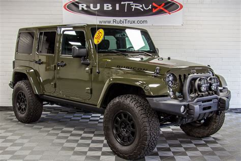 jeep wrangler custom 2015 jeep wrangler rubicon unlimited tank green