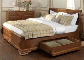 wooden sleigh beds with storage drawers
