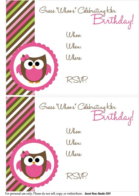 printable owl birthday card owl birthday invitations gangcraft net