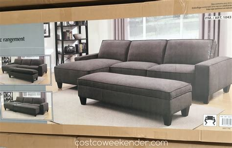 chaise sofa with storage ottoman chaise sofa with storage ottoman costco weekender
