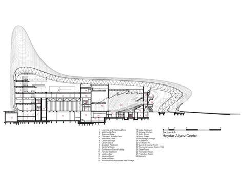 section a heydar aliyev center zaha hadid architects archdaily