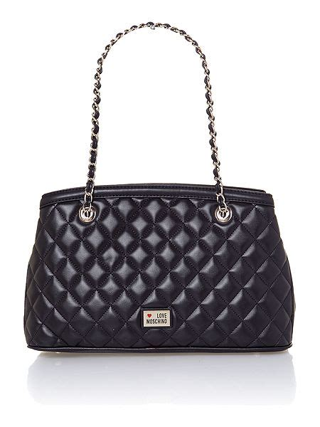 Moschino Quilted Velvet Tote by Moschino Black Medium Quilted Tote Bag House Of Fraser