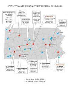 prisons map prison expansion map decarcerate pa