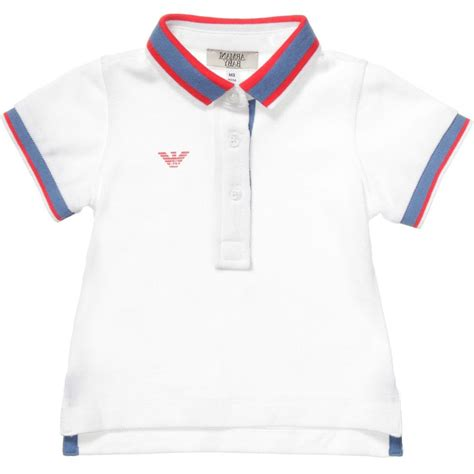 armani baby baby boys white cotton polo shirt children